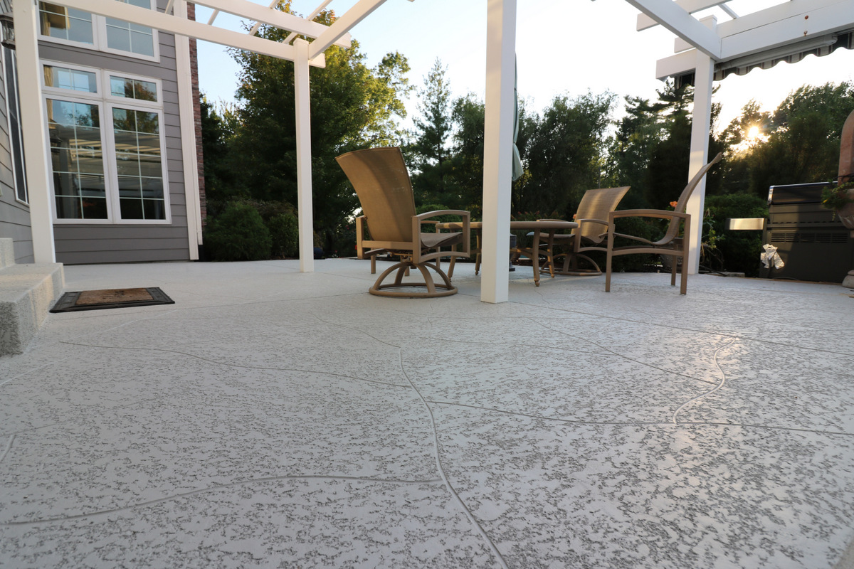 Delightful Concrete Patio With Knocked Down Finish