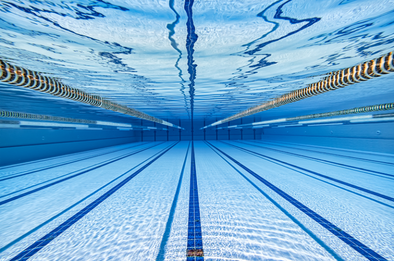 Pool track under crystal clear, water view