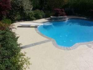 pool deck with custom scoreline